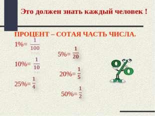 Это должен знать каждый человек ! ПРОЦЕНТ – СОТАЯ ЧАСТЬ ЧИСЛА. 1%= 5%= 10%= 2