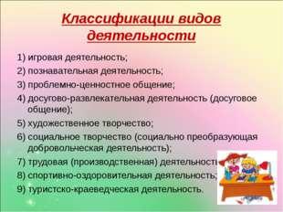 Классификации видов деятельности 1) игровая деятельность; 2) познавательная д