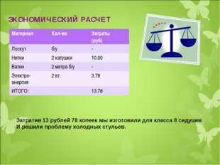 ЭКОНОМИЧЕСКИЙ РАСЧЕТ Затратив 13 рублей 78 копеек мы изготовили для класса 8