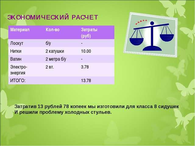 ЭКОНОМИЧЕСКИЙ РАСЧЕТ Затратив 13 рублей 78 копеек мы изготовили для класса 8...