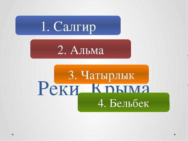Реки Крыма 1. Салгир 2. Альма 3. Чатырлык 4. Бельбек
