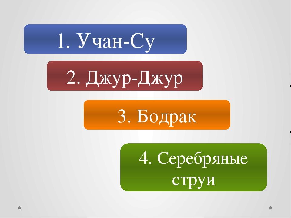 1. Учан-Су 2. Джур-Джур 3. Бодрак 4. Серебряные струи