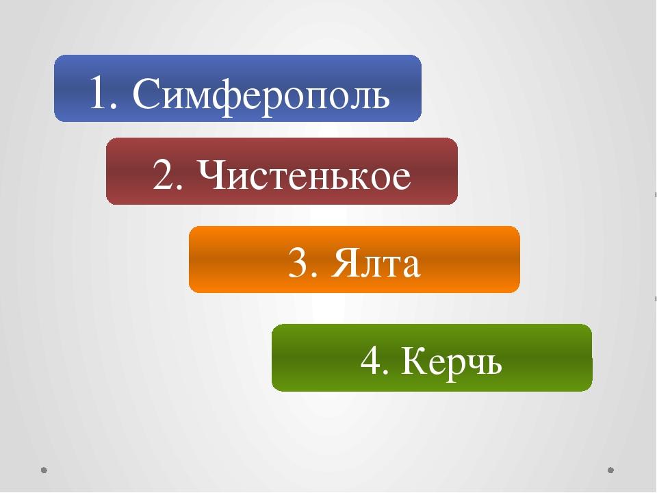 1. Симферополь 2. Чистенькое 3. Ялта 4. Керчь