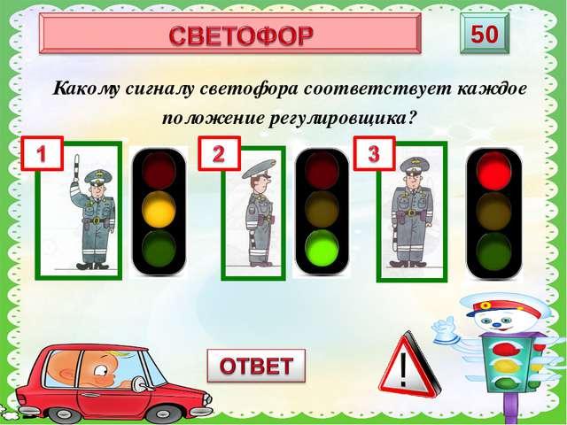 Какому сигналу светофора соответствует каждое положение регулировщика?