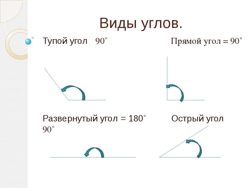 Виды углов. Тупой угол ⦣ 90˚ Прямой угол = 90˚ Развернутый угол = 180˚ Острый...