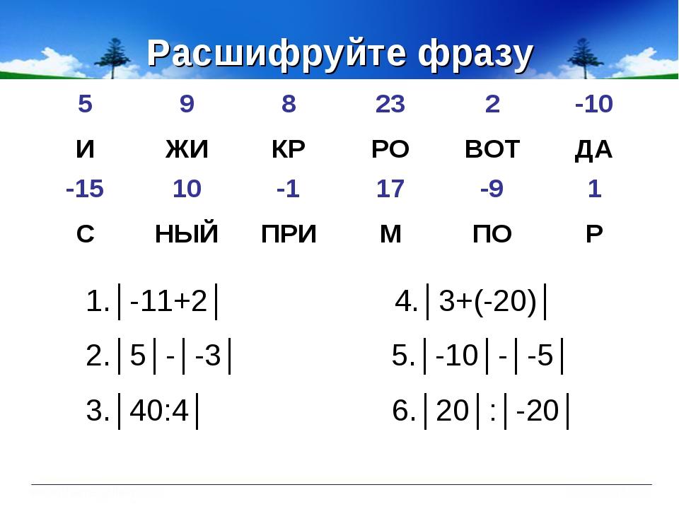 Расшифруйте фразу 1.│-11+2│ 4.│3+(-20)│ 2.│5│-│-3│ 5.│-10│-│-5│ 3.│40:4│ 6.│2...