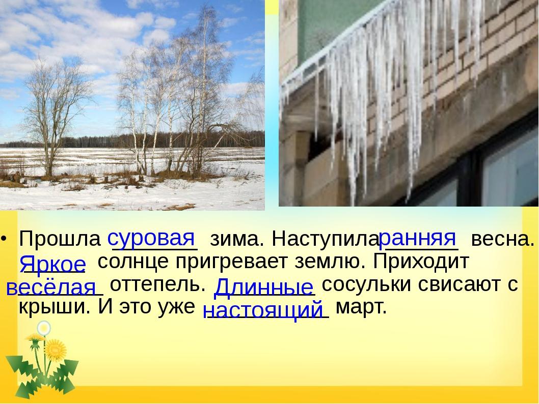 Прошла _______ зима. Наступила ______ весна. _____ солнце пригревает землю....