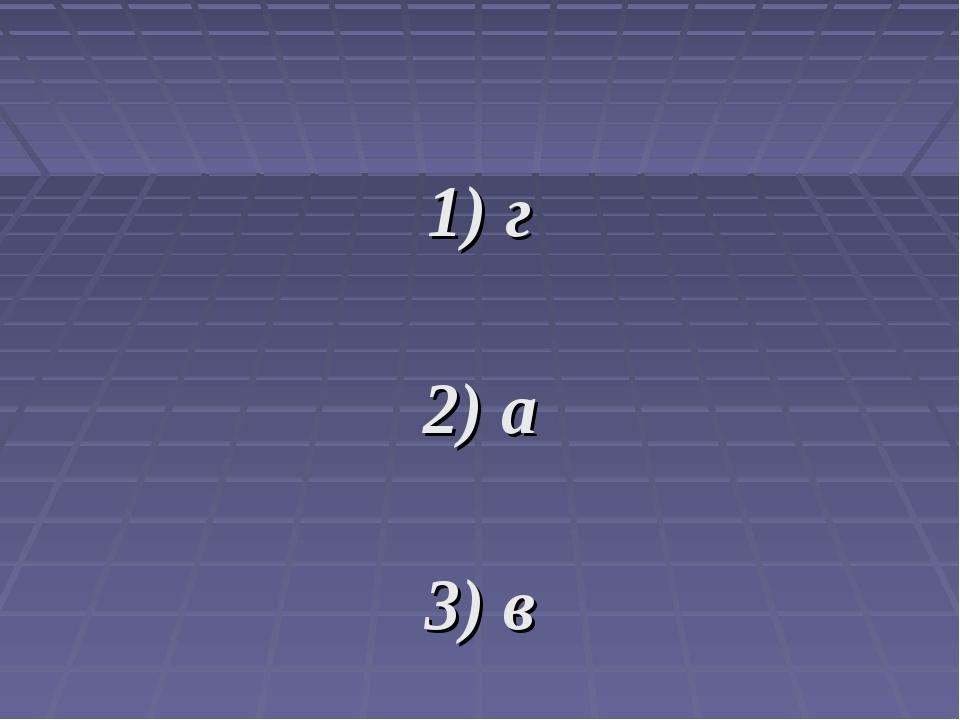 1) г 2) а 3) в