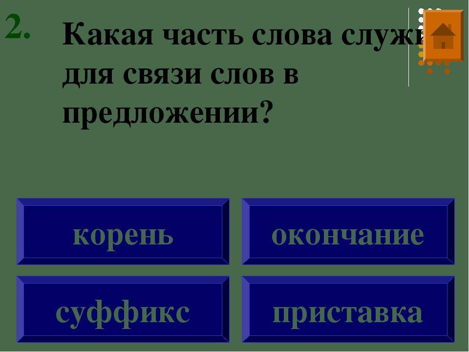 Какая часть слова служит для связи слов в предложении? суффикс корень окончан...