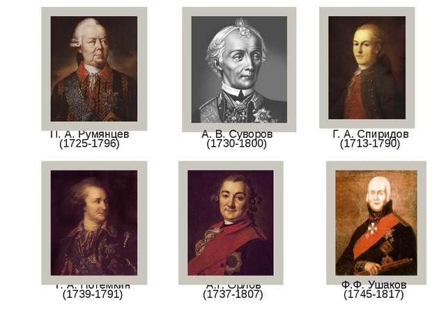 А. В. Суворов (1730-1800) П. А. Румянцев (1725-1796) Г. А. Спиридов (1713-179...