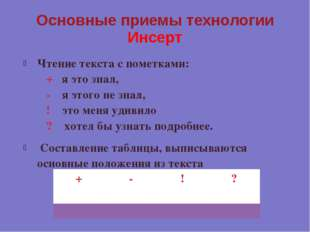 Основные приемы технологии Инсерт Чтение текста с пометками: &nb