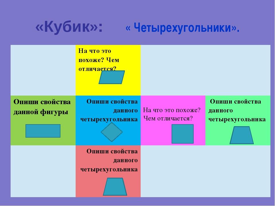 «Кубик»:     « Четырехугольники».