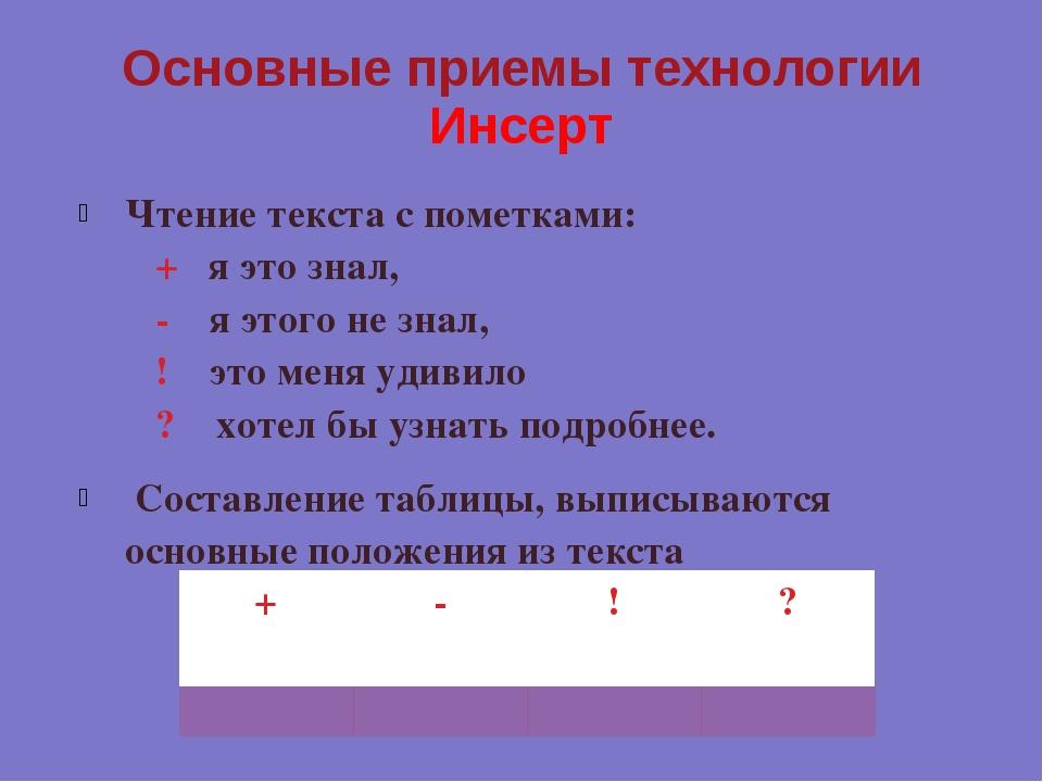 Основные приемы технологии Инсерт Чтение текста с пометками: &nb...