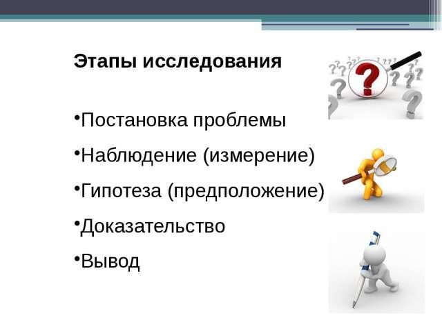 Этапы исследования Постановка проблемы Наблюдение (измерение) Гипотеза (предп...