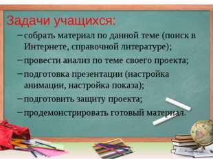 Задачи учащихся: собрать материал по данной теме (поиск в Интернете, справочн