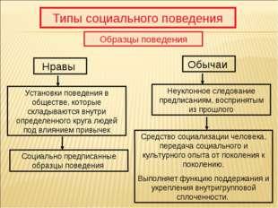 Типы социального поведения Образцы поведения Нравы Обычаи Установки поведения
