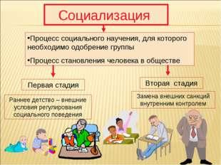 Социализация Процесс социального научения, для которого необходимо одобрение