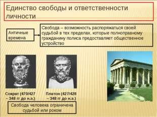 Единство свободы и ответственности личности Сократ (470/427 – 348 гг до н.э.)