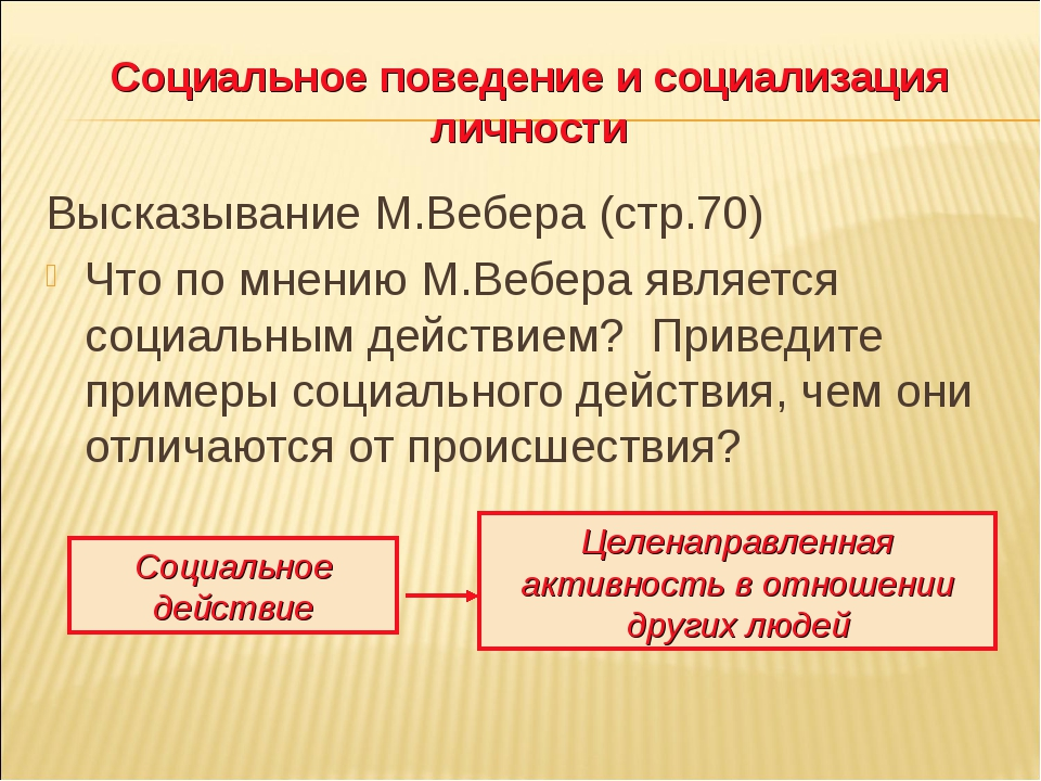 Социальное поведение и социализация личности Высказывание М.Вебера (стр.70) Ч...