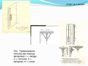 Рис. Провешивание потолка при помощи ватерпаса: / — гвоздь; 2 — потолок; 3 —