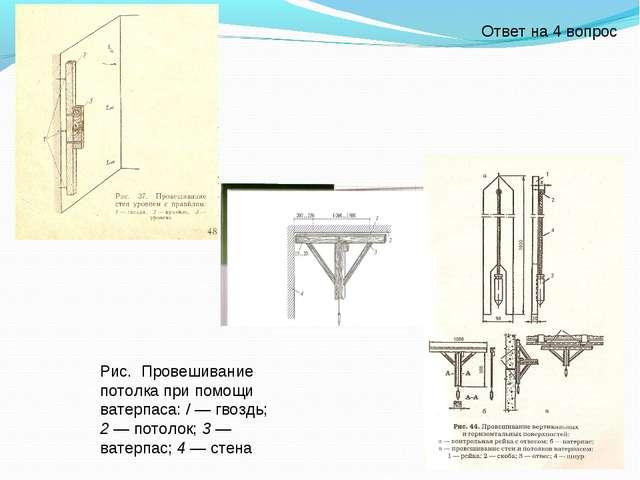 Рис. Провешивание потолка при помощи ватерпаса: / — гвоздь; 2 — потолок; 3 —...