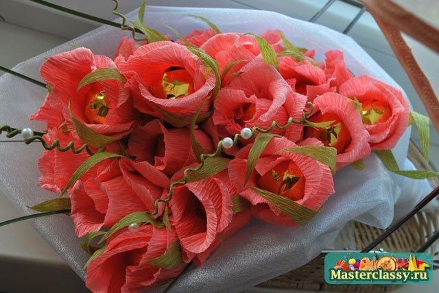 Букет из конфет своими руками для начинающих розы фото 112