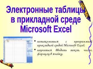 познакомиться с программной прикладной средой Microsoft Excel; научиться ввод