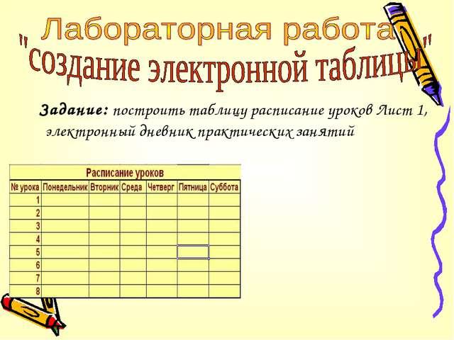 Задание: построить таблицу расписание уроков Лист 1, электронный дневник пра...