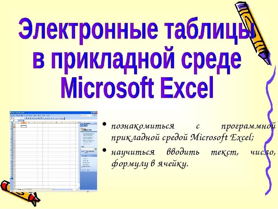 познакомиться с программной прикладной средой Microsoft Excel; научиться ввод...