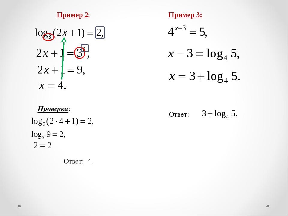 Проверка: Ответ: 4. Пример 3: Ответ: Пример 2:
