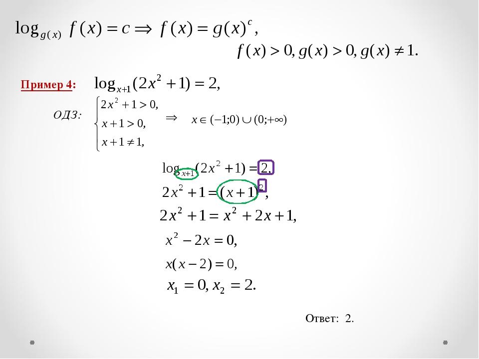 Пример 4: ОДЗ: Ответ: 2.
