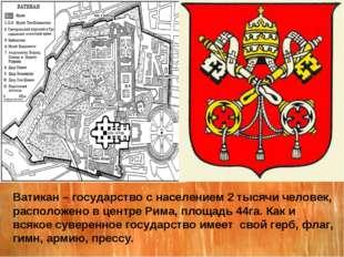 Ватикан – государство с населением 2 тысячи человек, расположено в центре Рим