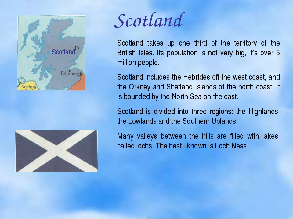 Scotland Scotland Scotland takes up one third of the territory of the British...