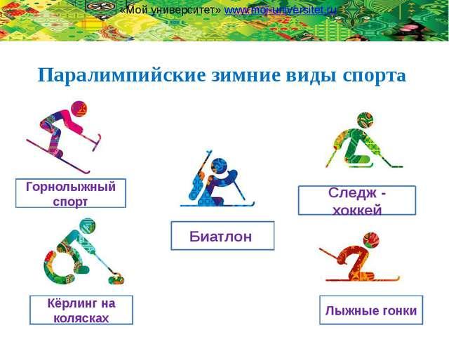 Паралимпийские зимние виды спорта Биатлон Следж - хоккей Кёрлинг на колясках...