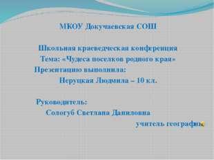 МКОУ Докучаевская СОШ Школьная краеведческая конференция Тема: «Чудеса посел