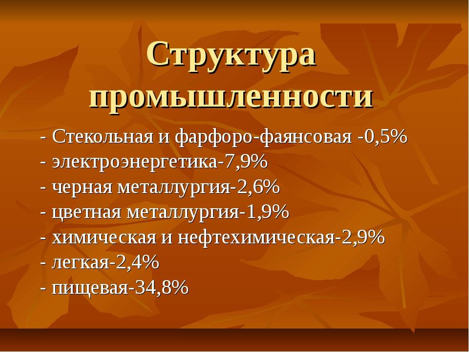 Структура промышленности - Стекольная и фарфоро-фаянсовая -0,5% - электроэнер...