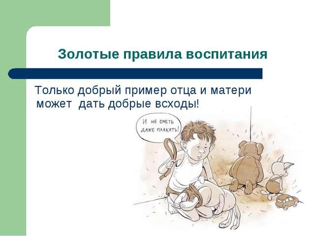 Золотые правила воспитания Только добрый пример отца и матери может дать добр...