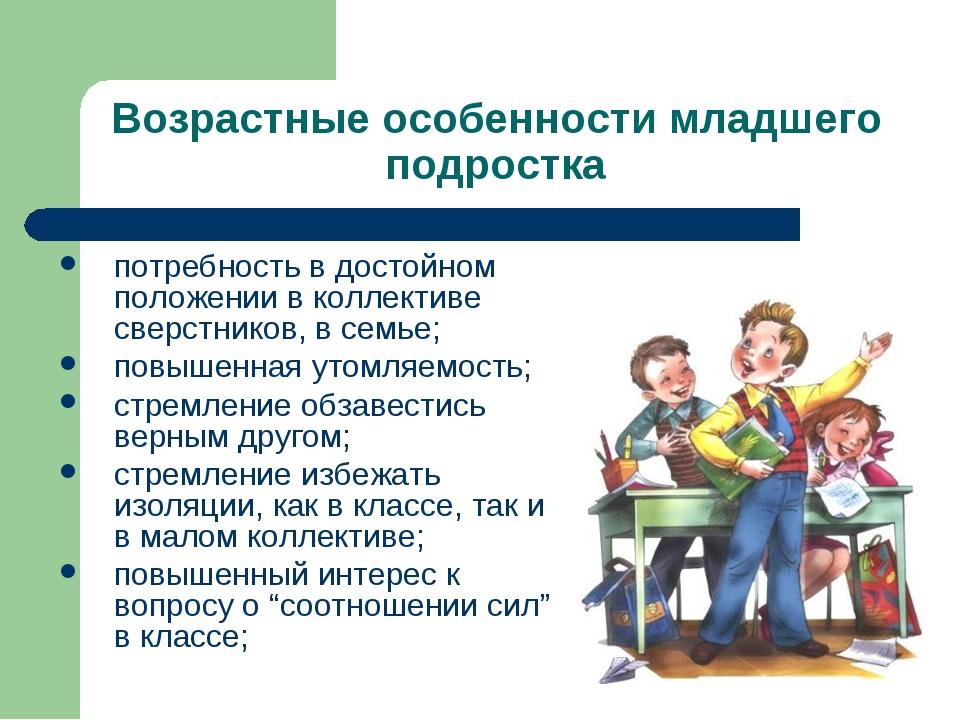 Возрастные особенности младшего подростка потребность в достойном положении в...