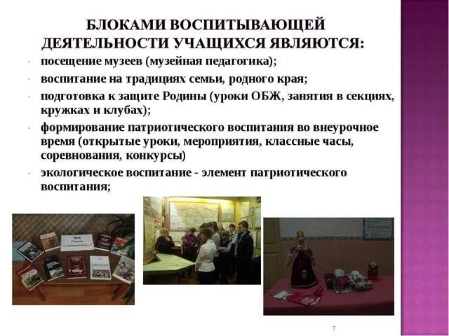 посещение музеев (музейная педагогика); воспитание на традициях семьи, родног...