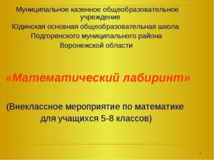 Муниципальное казенное общеобразовательное учреждение Юдинская основная обще