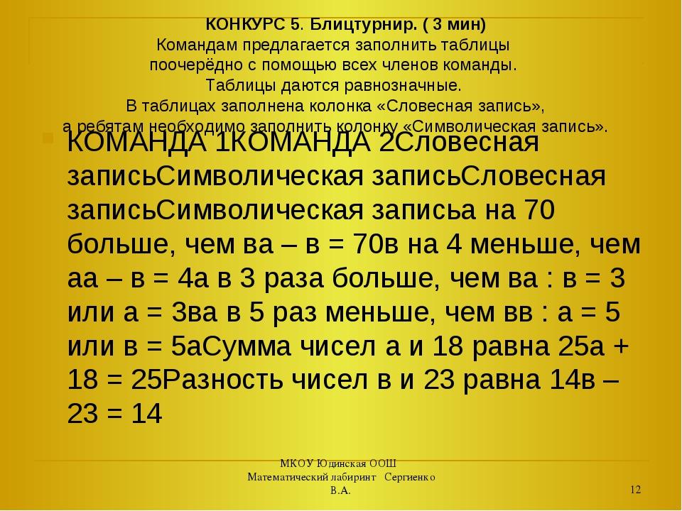 КОНКУРС 5. Блицтурнир. ( 3 мин) Командам предлагается заполнить таблицы пооч...