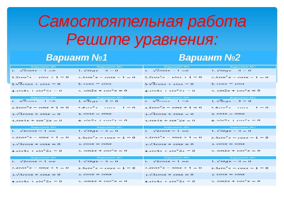 Самостоятельная работа Решите уравнения: 12.01.2014 МБОУ СОШ № 22 Бажакина А.Г.