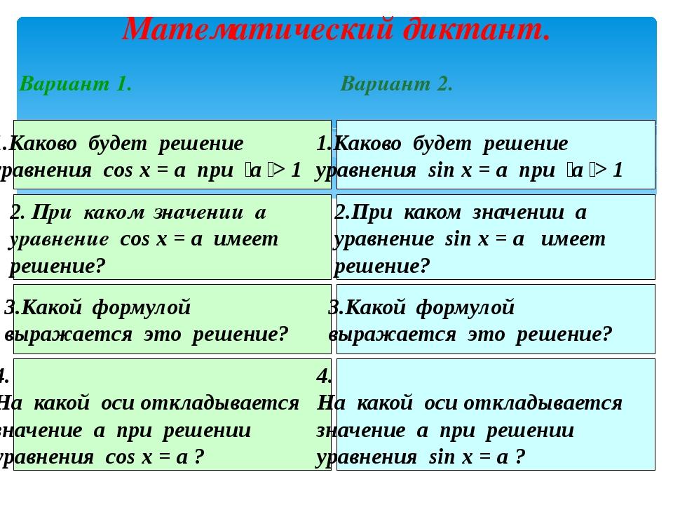 Математический диктант. Каково будет решение уравнения cos x = a при  а  >...