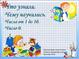 Презентацию подготовила Учитель начальных классов Киселёва И.И.