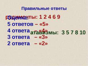 Правильные ответы рудименты: 1 2 4 6 9 атавизмы: 3 5 7 8 10 Оценка: 5 ответов