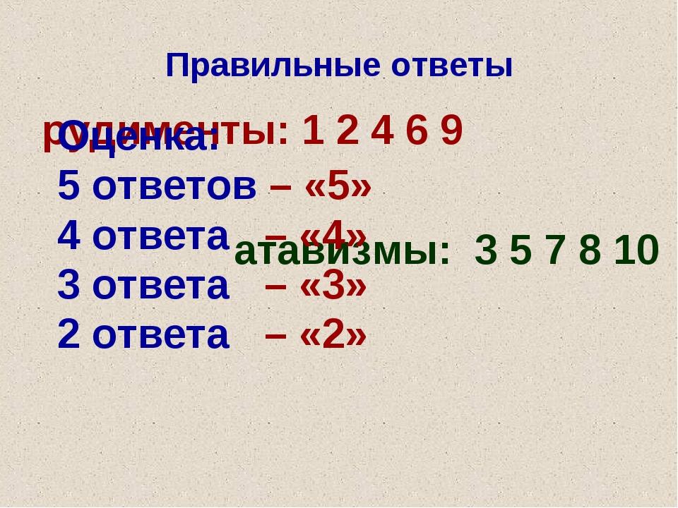 Правильные ответы рудименты: 1 2 4 6 9 атавизмы: 3 5 7 8 10 Оценка: 5 ответов...
