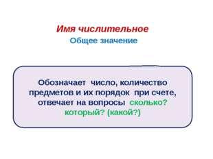Имя числительное Общее значение Обозначает число, количество предметов и их п