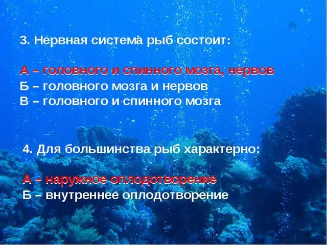 3. Нервная система рыб состоит: А – головного и спинного мозга, нервов Б – го...