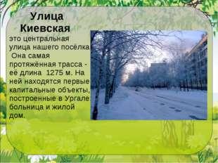 Улица Киевская это центральная улица нашего посёлка. Она самая протяжённая тр
