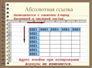 Абсолютная ссылка Адрес ячейки при копировании формулы не изменяется. Записыв